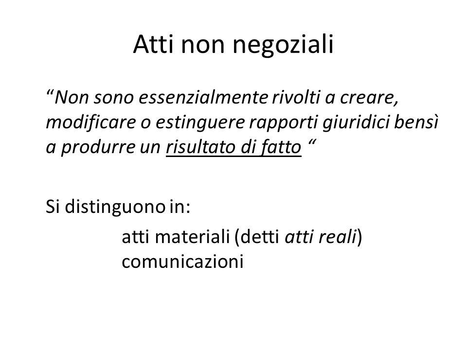 """Atti non negoziali """"Non sono essenzialmente rivolti a creare, modificare o estinguere rapporti giuridici bensì a produrre un risultato di fatto """" Si d"""