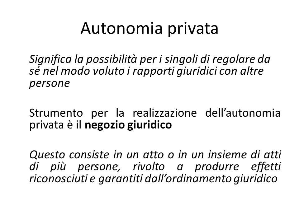 Autonomia privata Significa la possibilità per i singoli di regolare da sé nel modo voluto i rapporti giuridici con altre persone Strumento per la rea
