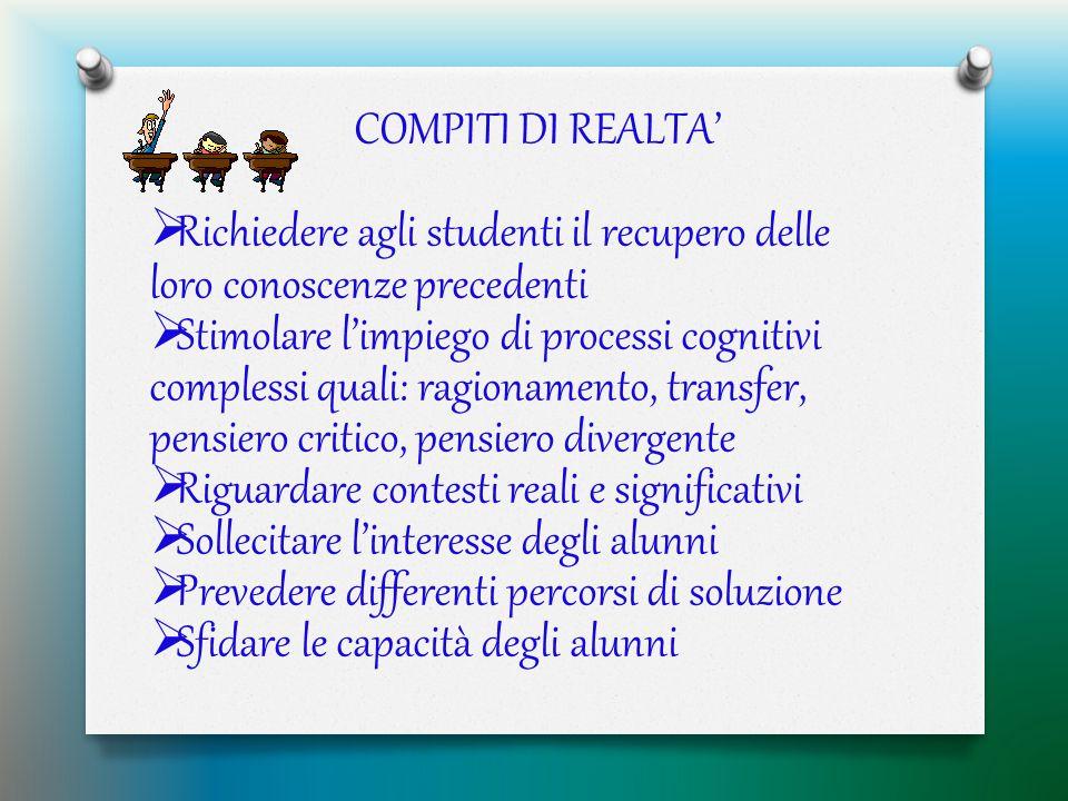 COMPITI DI REALTA'  Richiedere agli studenti il recupero delle loro conoscenze precedenti  Stimolare l'impiego di processi cognitivi complessi quali