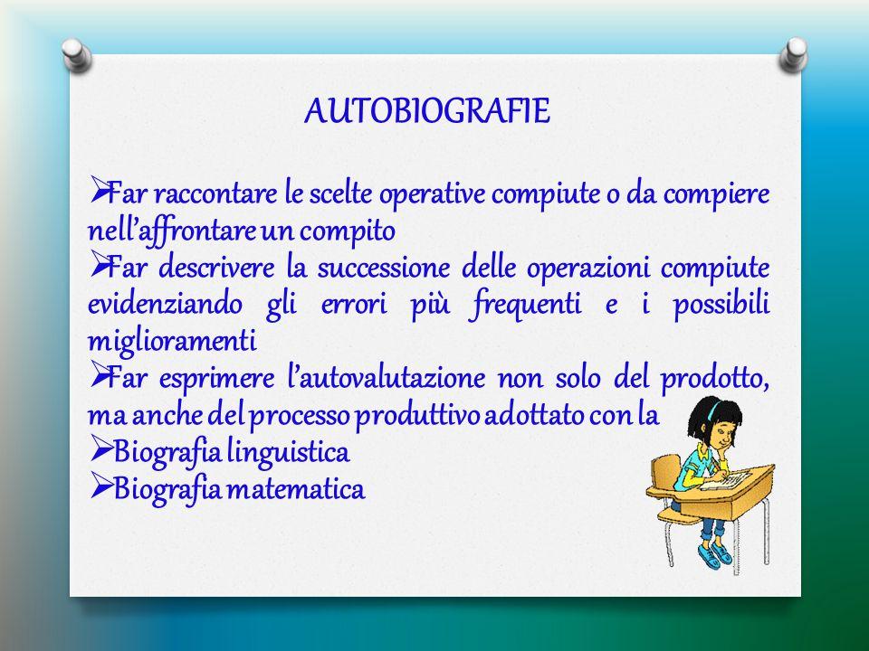AUTOBIOGRAFIE  Far raccontare le scelte operative compiute o da compiere nell'affrontare un compito  Far descrivere la successione delle operazioni
