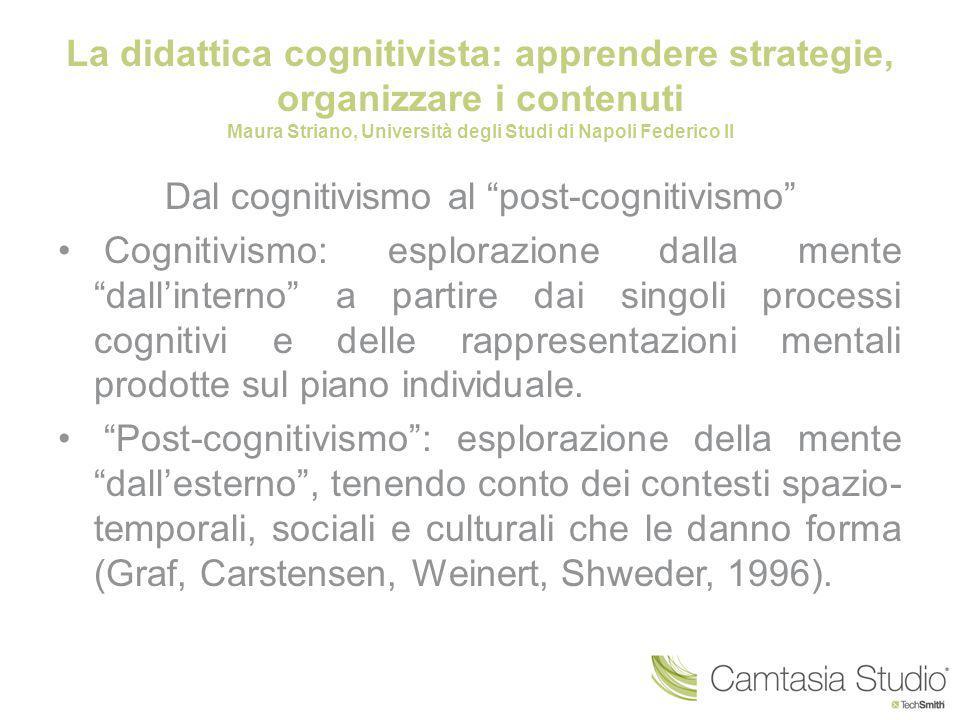 La didattica cognitivista: apprendere strategie, organizzare i contenuti Maura Striano, Università degli Studi di Napoli Federico II Dal cognitivismo