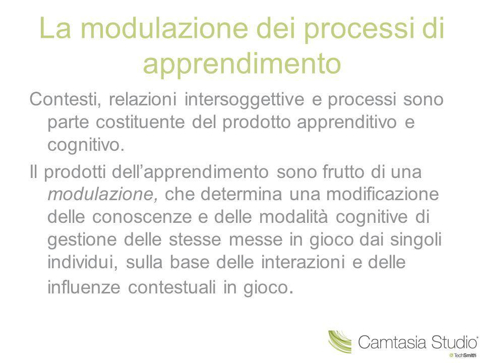 La modulazione dei processi di apprendimento Contesti, relazioni intersoggettive e processi sono parte costituente del prodotto apprenditivo e cogniti