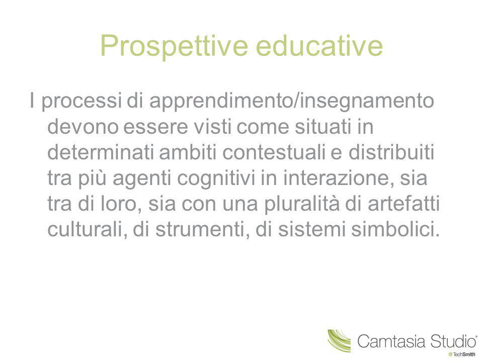 Prospettive educative I processi di apprendimento/insegnamento devono essere visti come situati in determinati ambiti contestuali e distribuiti tra pi