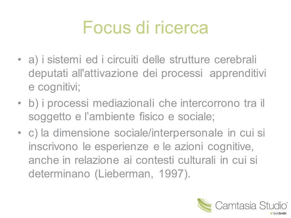 Focus di ricerca a) i sistemi ed i circuiti delle strutture cerebrali deputati all'attivazione dei processi apprenditivi e cognitivi; b) i processi me