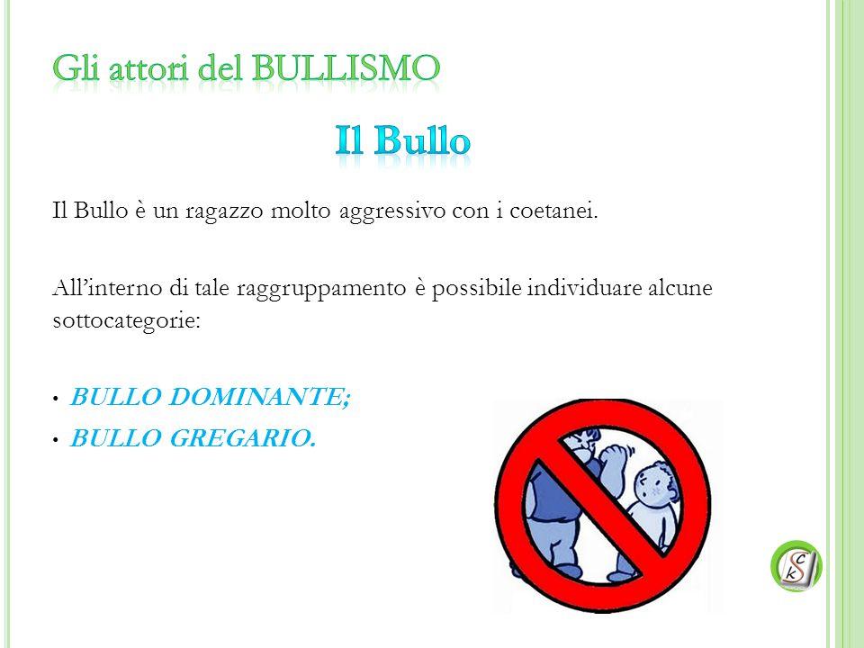 Il Bullo è un ragazzo molto aggressivo con i coetanei. All'interno di tale raggruppamento è possibile individuare alcune sottocategorie: BULLO DOMINAN