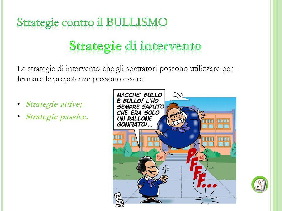 Le strategie di intervento che gli spettatori possono utilizzare per fermare le prepotenze possono essere: Strategie attive; Strategie passive.