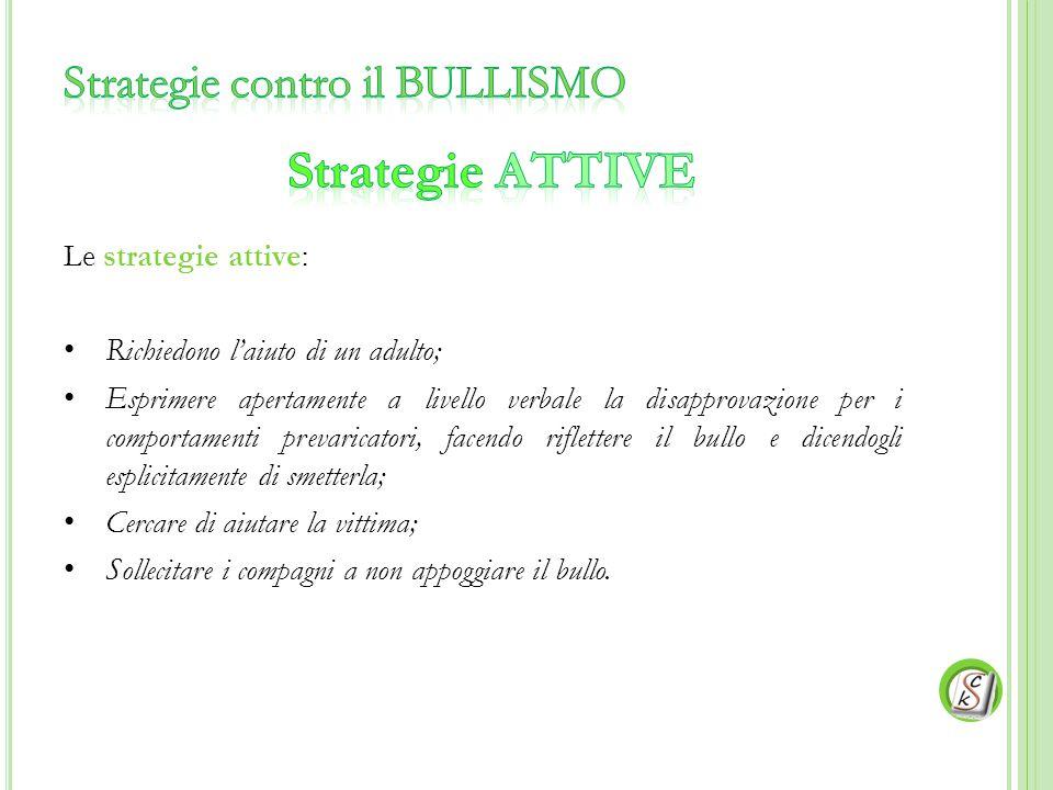 Le strategie attive: Richiedono l'aiuto di un adulto; Esprimere apertamente a livello verbale la disapprovazione per i comportamenti prevaricatori, fa