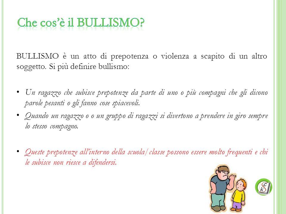 BULLISMO è un atto di prepotenza o violenza a scapito di un altro soggetto. Si più definire bullismo: Un ragazzo che subisce prepotenze da parte di un