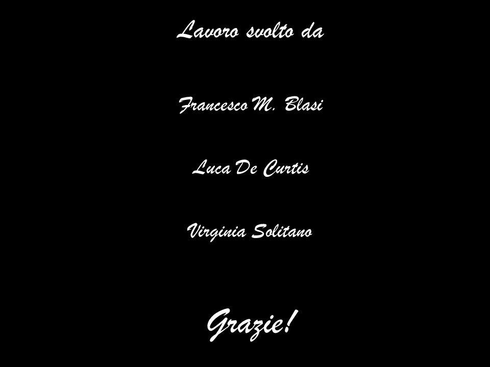 Lavoro svolto da Francesco M. Blasi Luca De Curtis Virginia Solitano Grazie!