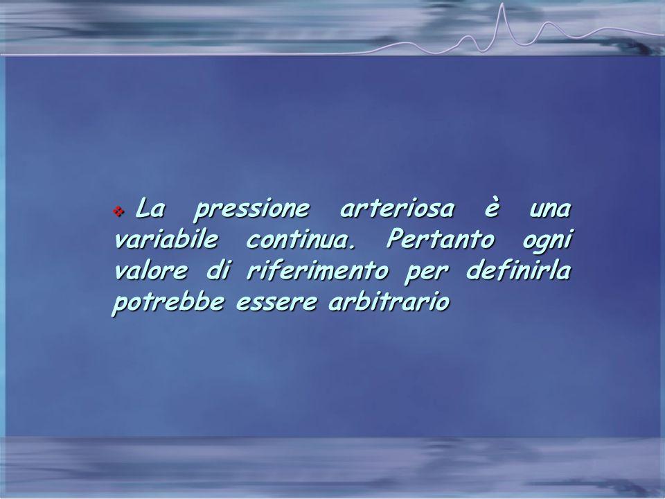  La pressione arteriosa è una variabile continua. Pertanto ogni valore di riferimento per definirla potrebbe essere arbitrario