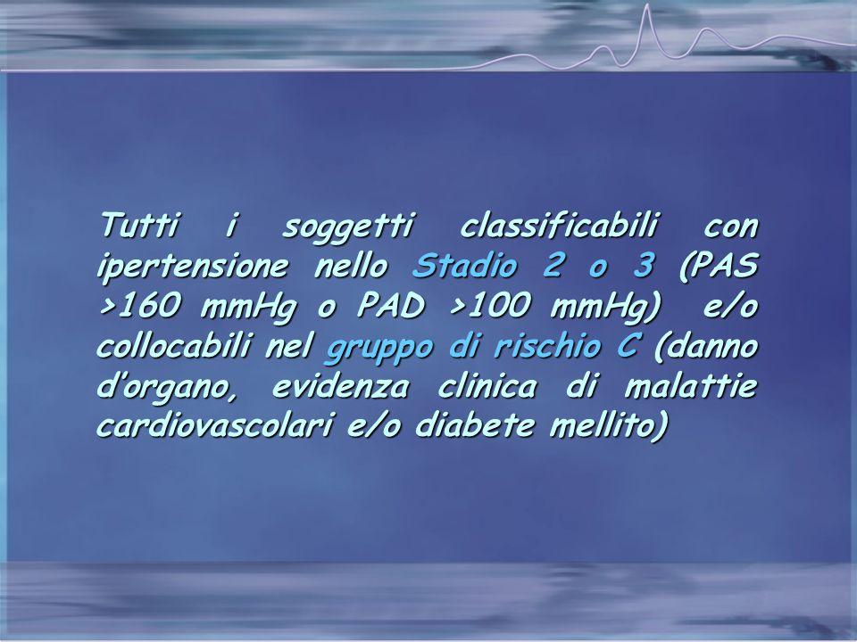 Tutti i soggetti classificabili con ipertensione nello Stadio 2 o 3 (PAS >160 mmHg o PAD >100 mmHg) e/o collocabili nel gruppo di rischio C (danno d'o