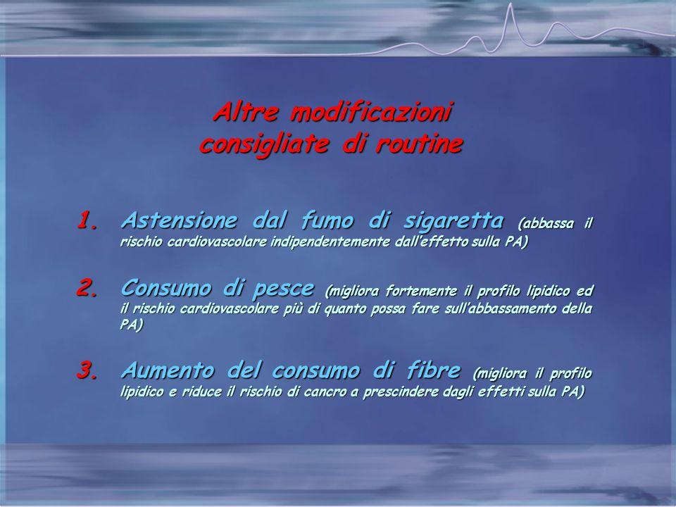 Altre modificazioni consigliate di routine 1.Astensione dal fumo di sigaretta (abbassa il rischio cardiovascolare indipendentemente dall'effetto sulla