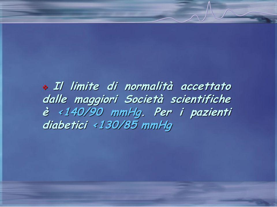  Il limite di normalità accettato dalle maggiori Società scientifiche è <140/90 mmHg. Per i pazienti diabetici <130/85 mmHg