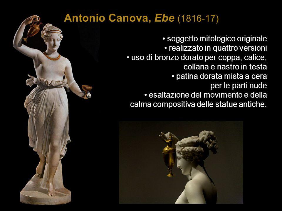 Antonio Canova, Ebe (1816-17) soggetto mitologico originale realizzato in quattro versioni uso di bronzo dorato per coppa, calice, collana e nastro in