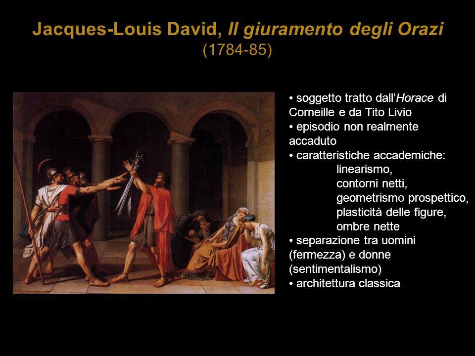 Jacques-Louis David, Il giuramento degli Orazi (1784-85) soggetto tratto dall'Horace di Corneille e da Tito Livio episodio non realmente accaduto cara