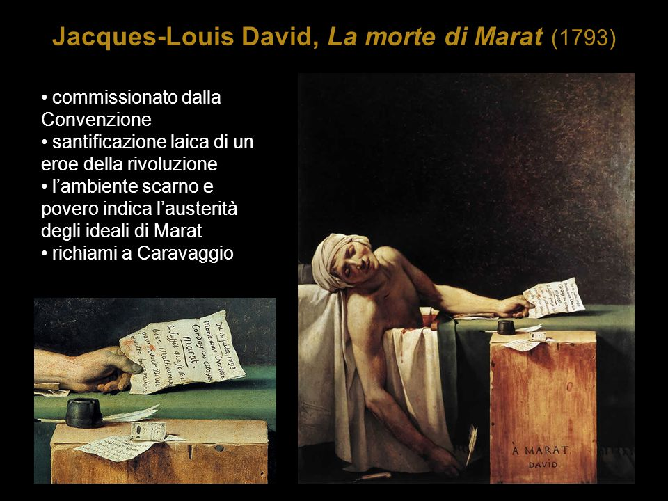 Jacques-Louis David, La morte di Marat (1793) commissionato dalla Convenzione santificazione laica di un eroe della rivoluzione l'ambiente scarno e po