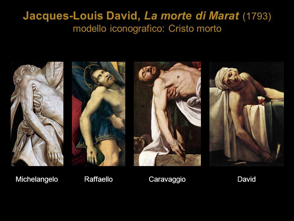 Jacques-Louis David, La morte di Marat (1793) modello iconografico: Cristo morto MichelangeloRaffaelloCaravaggioDavid