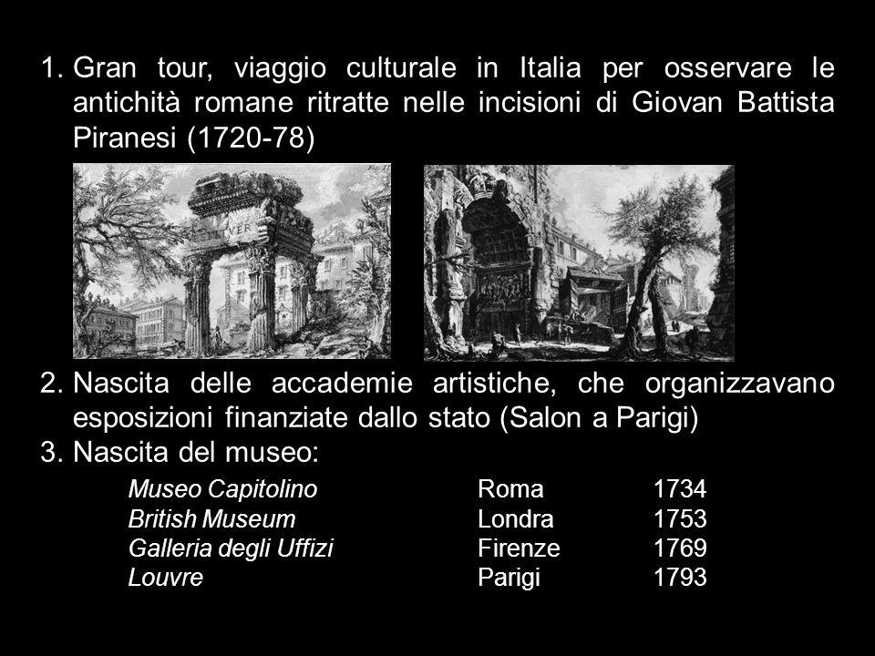 1.Gran tour, viaggio culturale in Italia per osservare le antichità romane ritratte nelle incisioni di Giovan Battista Piranesi (1720-78) 2.Nascita de