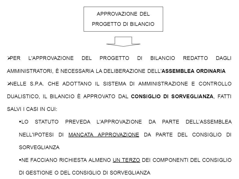 APPROVAZIONE DEL PROGETTO DI BILANCIO  PER L APPROVAZIONE DEL PROGETTO DI BILANCIO REDATTO DAGLI AMMINISTRATORI, È NECESSARIA LA DELIBERAZIONE DELL ASSEMBLEA ORDINARIA  NELLE S.P.A.