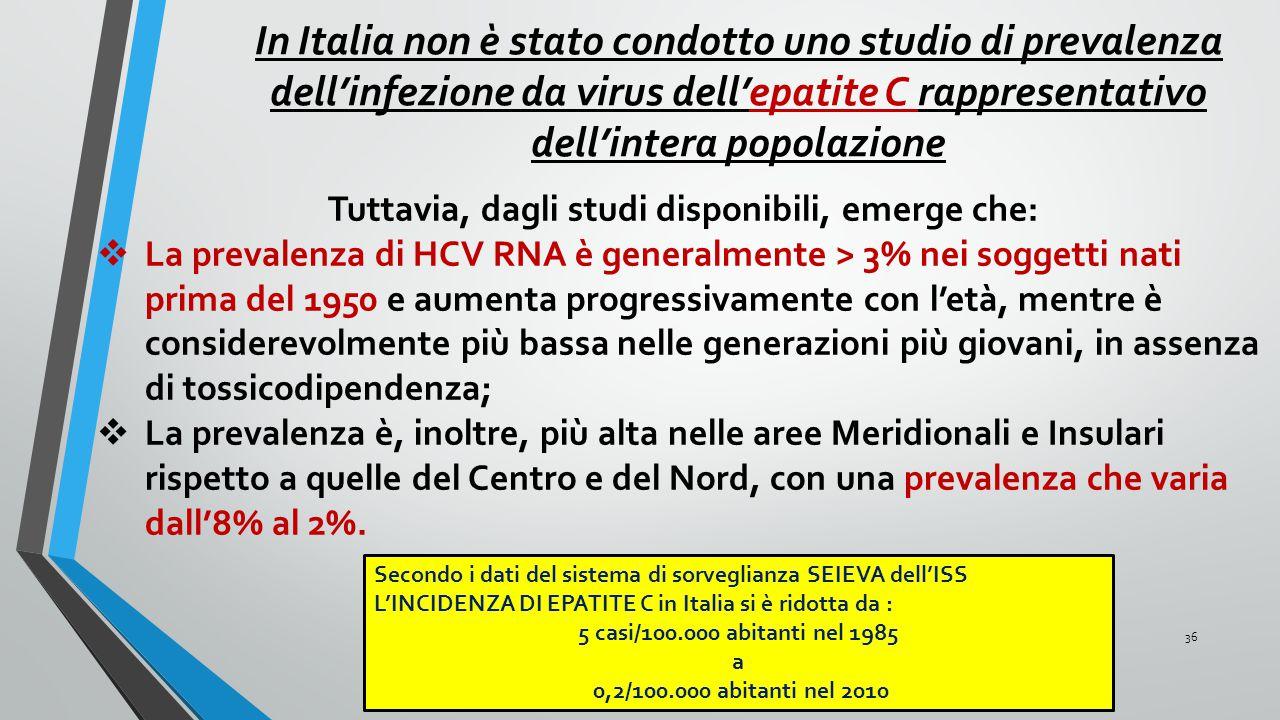 36 Tuttavia, dagli studi disponibili, emerge che:  La prevalenza di HCV RNA è generalmente > 3% nei soggetti nati prima del 1950 e aumenta progressiv