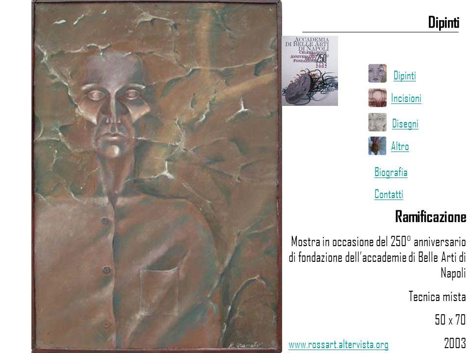 Ramificazione Mostra in occasione del 250° anniversario di fondazione dell'accademie di Belle Arti di Napoli Tecnica mista 50 x 70 2003 Dipinti www.rossart.altervista.org Dipinti Incisioni Disegni Altro Biografia Contatti