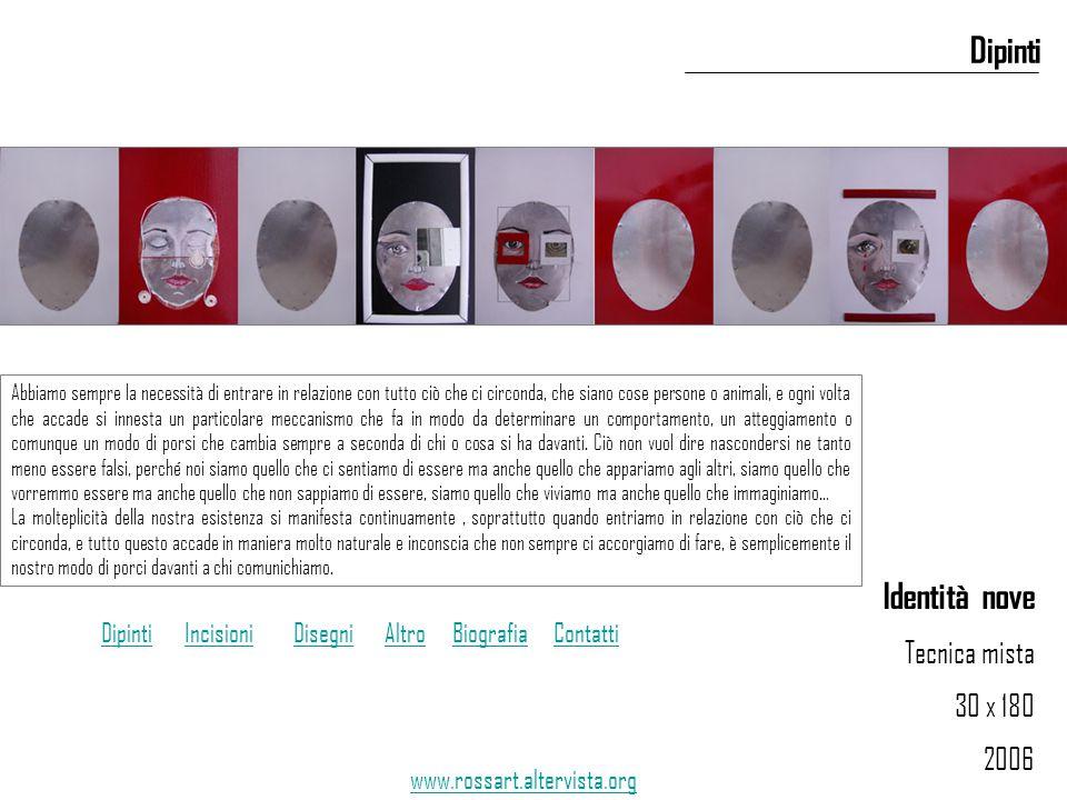 Identità nove Tecnica mista 30 x 180 2006 Dipinti www.rossart.altervista.org Abbiamo sempre la necessità di entrare in relazione con tutto ciò che ci