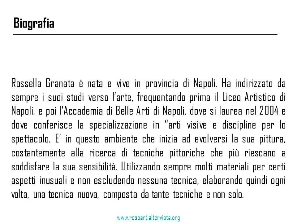 Rossella Granata è nata e vive in provincia di Napoli. Ha indirizzato da sempre i suoi studi verso l'arte, frequentando prima il Liceo Artistico di Na