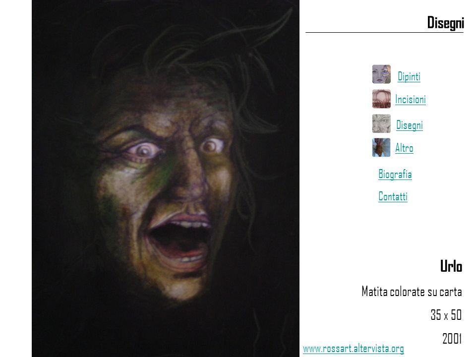 Urlo Matita colorate su carta 35 x 50 2001 Disegni www.rossart.altervista.org Dipinti Incisioni Disegni Altro Biografia Contatti