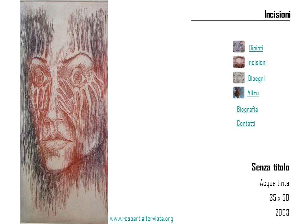 Senza titolo Acqua tinta 35 x 50 2003 Incisioni www.rossart.altervista.org Dipinti Incisioni Disegni Altro Biografia Contatti