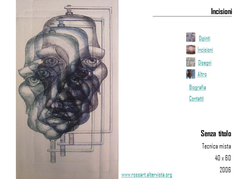 Senza titolo Tecnica mista 40 x 60 2006 Incisioni www.rossart.altervista.org Dipinti Incisioni Disegni Altro Biografia Contatti