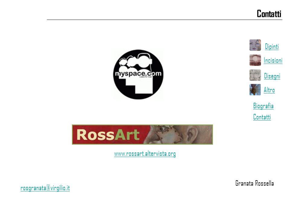 Contatti rosgranata@virgilio.it www.rossart.altervista.org Granata Rossella Dipinti Incisioni Disegni Altro Biografia Contatti