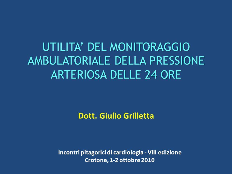UTILITA' DEL MONITORAGGIO AMBULATORIALE DELLA PRESSIONE ARTERIOSA DELLE 24 ORE Dott. Giulio Grilletta Incontri pitagorici di cardiologia - VIII edizio