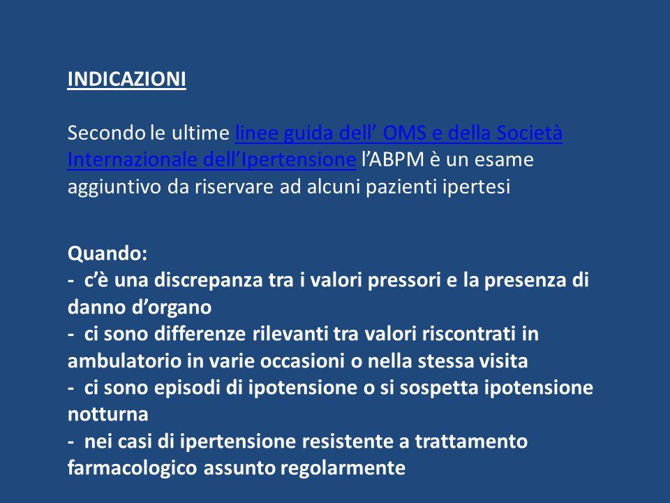 INDICAZIONI Secondo le ultime linee guida dell' OMS e della Società Internazionale dell'Ipertensione l'ABPM è un esame aggiuntivo da riservare ad alcu