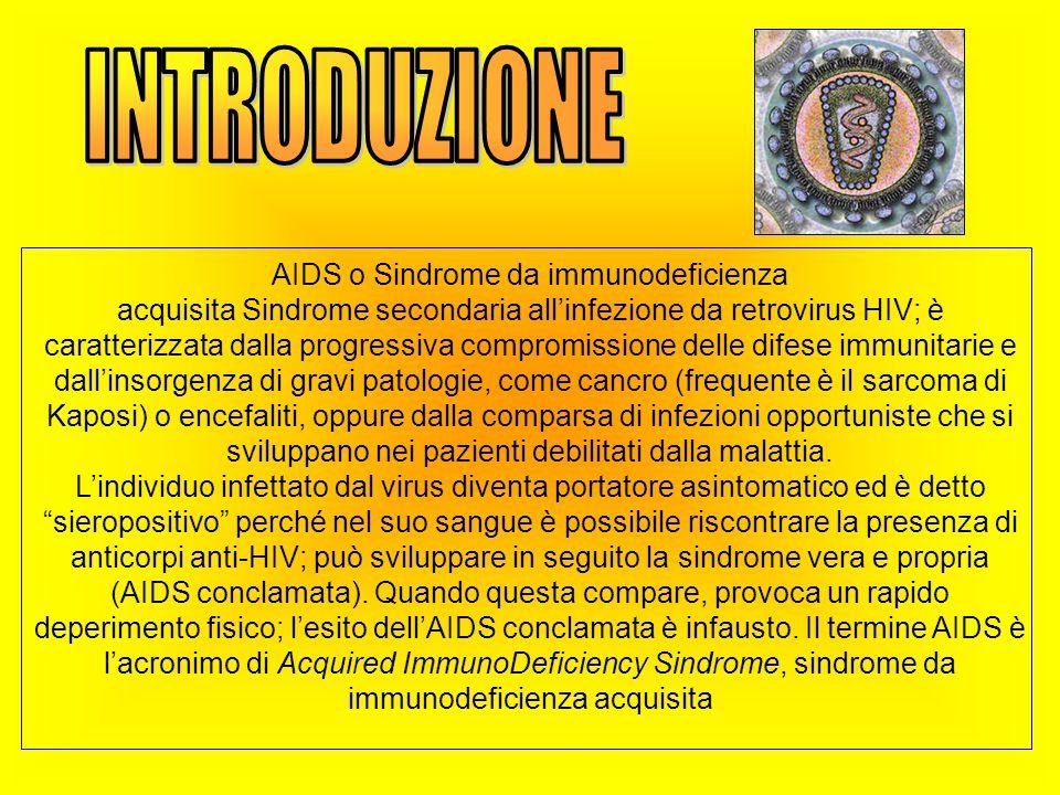 AIDS o Sindrome da immunodeficienza acquisita Sindrome secondaria all'infezione da retrovirus HIV; è caratterizzata dalla progressiva compromissione delle difese immunitarie e dall'insorgenza di gravi patologie, come cancro (frequente è il sarcoma di Kaposi) o encefaliti, oppure dalla comparsa di infezioni opportuniste che si sviluppano nei pazienti debilitati dalla malattia.