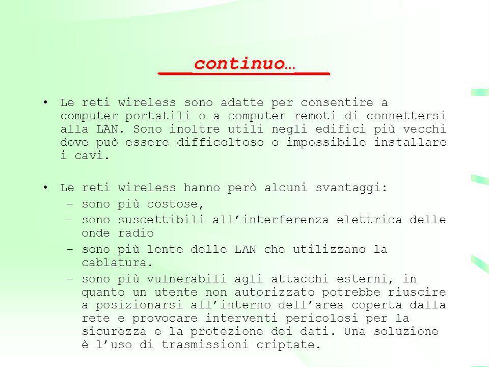 ___continuo…___ Le reti wireless sono adatte per consentire a computer portatili o a computer remoti di connettersi alla LAN. Sono inoltre utili negli