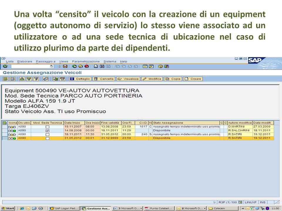 """Una volta """"censito"""" il veicolo con la creazione di un equipment (oggetto autonomo di servizio) lo stesso viene associato ad un utilizzatore o ad una s"""