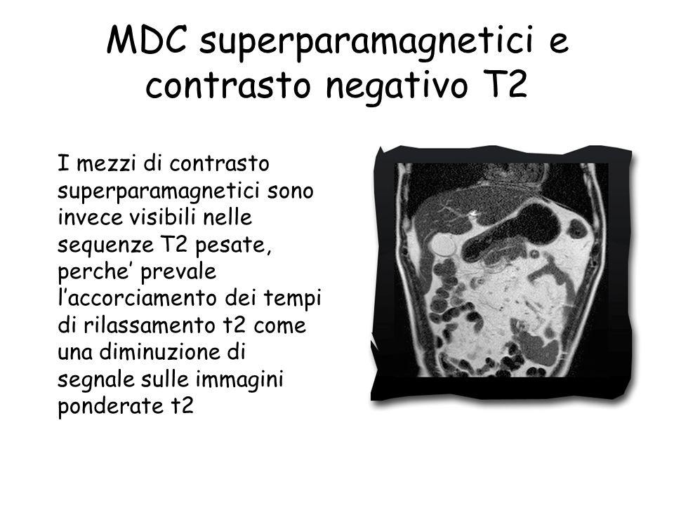 I mezzi di contrasto superparamagnetici sono invece visibili nelle sequenze T2 pesate, perche' prevale l'accorciamento dei tempi di rilassamento t2 come una diminuzione di segnale sulle immagini ponderate t2 MDC superparamagnetici e contrasto negativo T2
