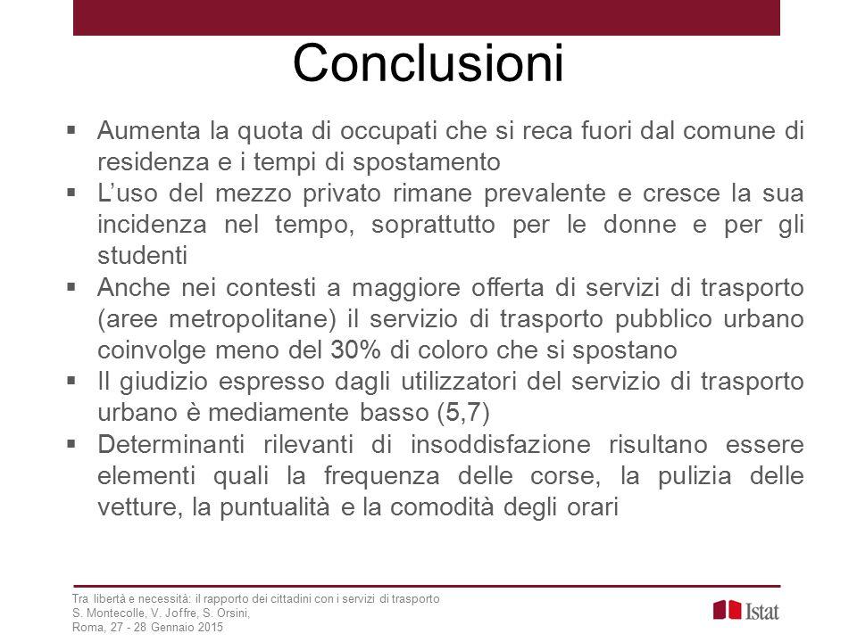 Conclusioni Tra libertà e necessità: il rapporto dei cittadini con i servizi di trasporto S.
