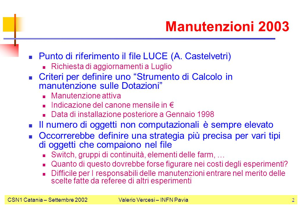 CSN1 Catania – Settembre 2002Valerio Vercesi – INFN Pavia2 Manutenzioni 2003 Punto di riferimento il file LUCE (A. Castelvetri) Richiesta di aggiornam