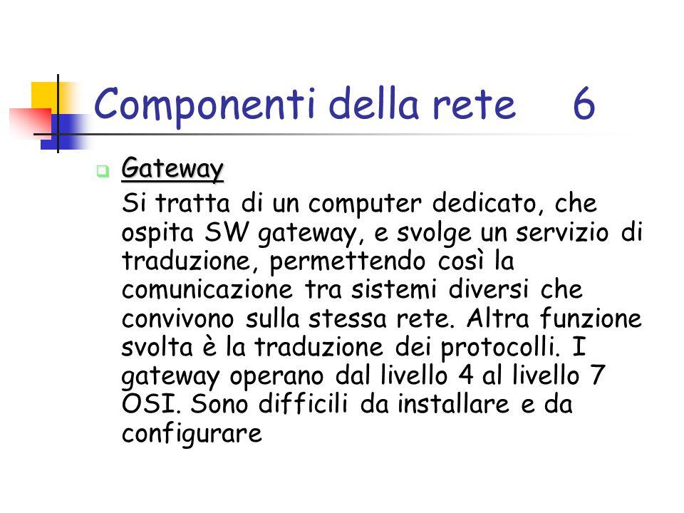 Componenti della rete6  Gateway Si tratta di un computer dedicato, che ospita SW gateway, e svolge un servizio di traduzione, permettendo così la comunicazione tra sistemi diversi che convivono sulla stessa rete.