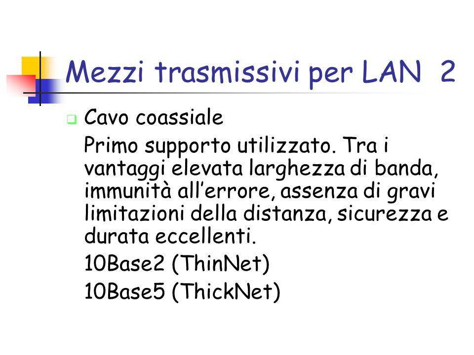 Mezzi trasmissivi per LAN 2  Cavo coassiale Primo supporto utilizzato. Tra i vantaggi elevata larghezza di banda, immunità all'errore, assenza di gra