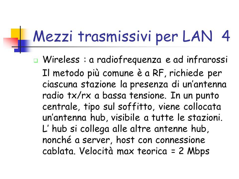 Mezzi trasmissivi per LAN 4  Wireless : a radiofrequenza e ad infrarossi Il metodo più comune è a RF, richiede per ciascuna stazione la presenza di un'antenna radio tx/rx a bassa tensione.