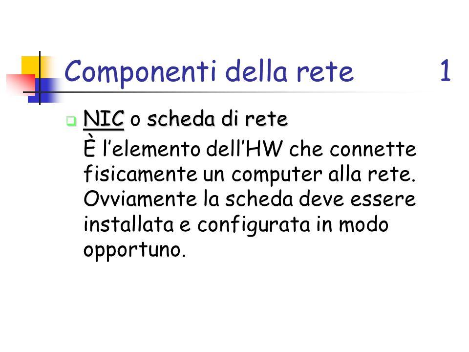 Componenti della rete1  NICscheda di rete  NIC o scheda di rete È l'elemento dell'HW che connette fisicamente un computer alla rete. Ovviamente la s