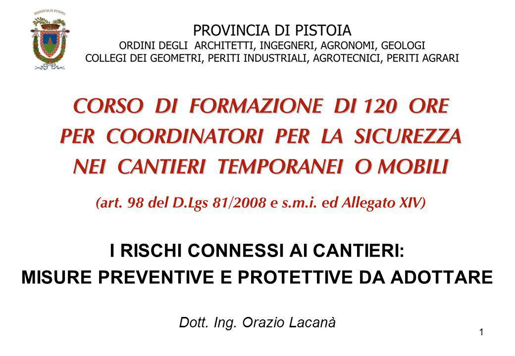 1 I RISCHI CONNESSI AI CANTIERI: MISURE PREVENTIVE E PROTETTIVE DA ADOTTARE Dott. Ing. Orazio Lacanà