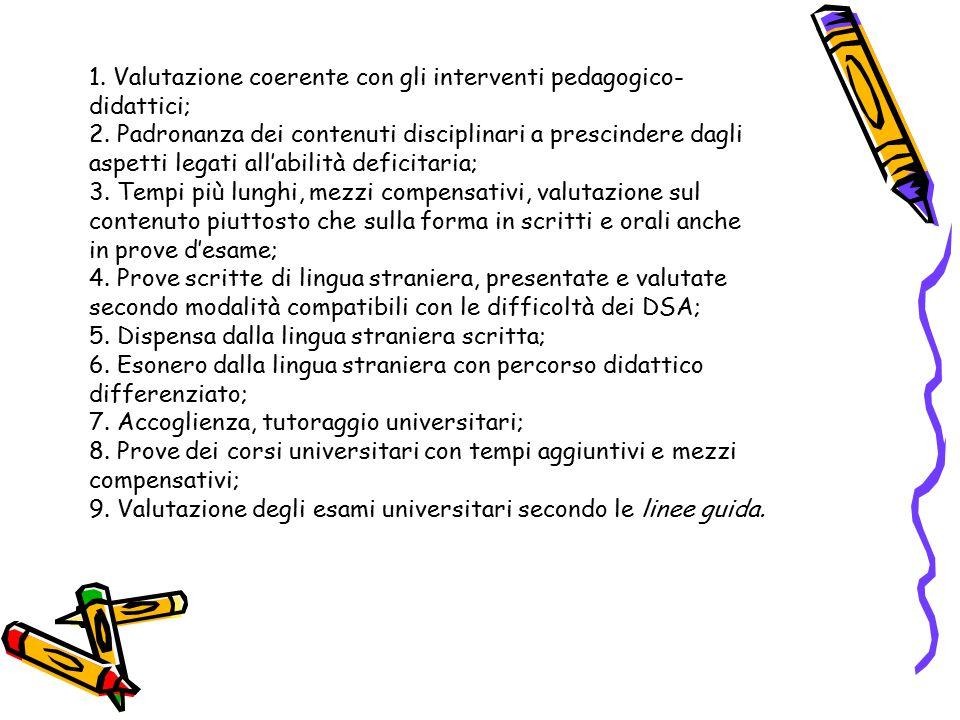 1. Valutazione coerente con gli interventi pedagogico- didattici; 2. Padronanza dei contenuti disciplinari a prescindere dagli aspetti legati all'abil