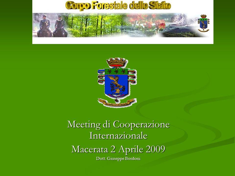 Meeting di Cooperazione Internazionale Macerata 2 Aprile 2009 Dott. Giuseppe Bordoni