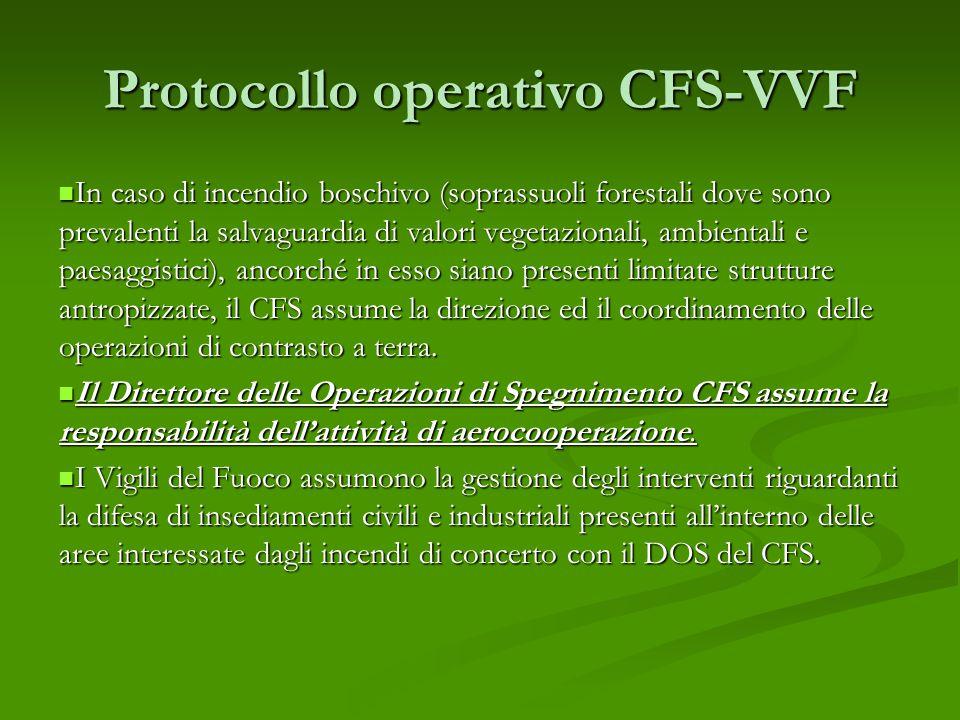 Protocollo operativo CFS-VVF In caso di incendio boschivo (soprassuoli forestali dove sono prevalenti la salvaguardia di valori vegetazionali, ambientali e paesaggistici), ancorché in esso siano presenti limitate strutture antropizzate, il CFS assume la direzione ed il coordinamento delle operazioni di contrasto a terra.