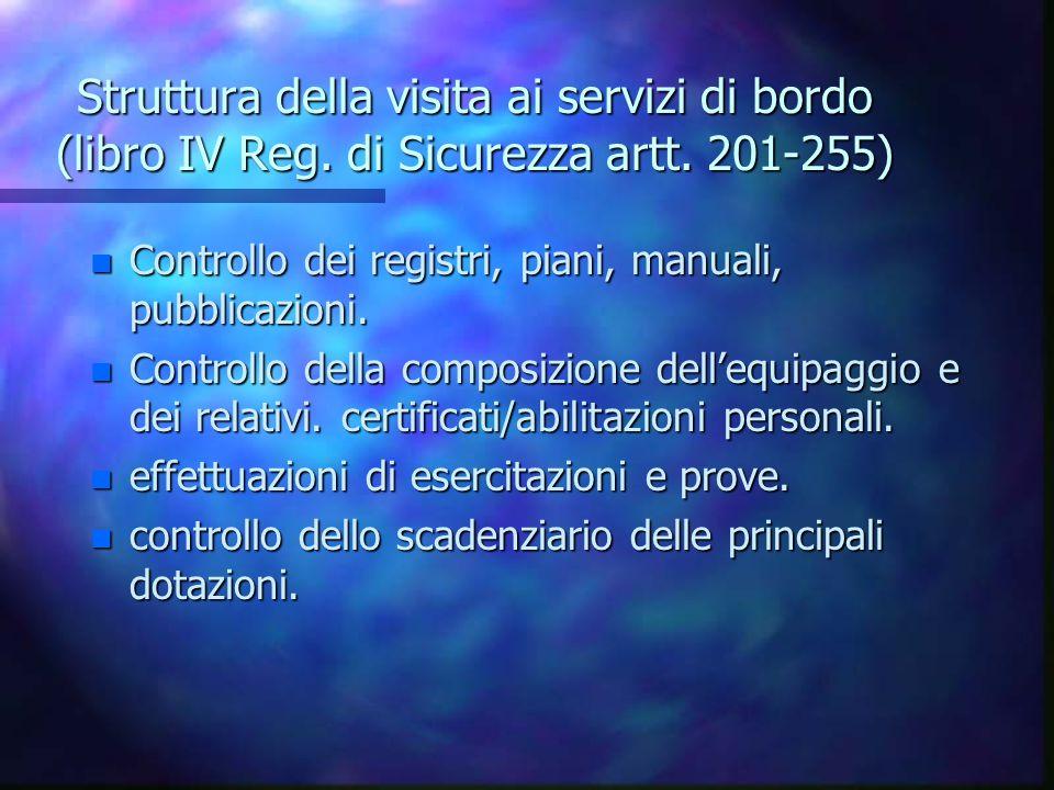 Struttura della visita ai servizi di bordo (libro IV Reg.