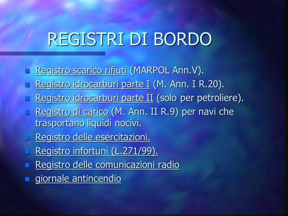 REGISTRI DI BORDO n Registro scarico rifiuti (MARPOL Ann.V).
