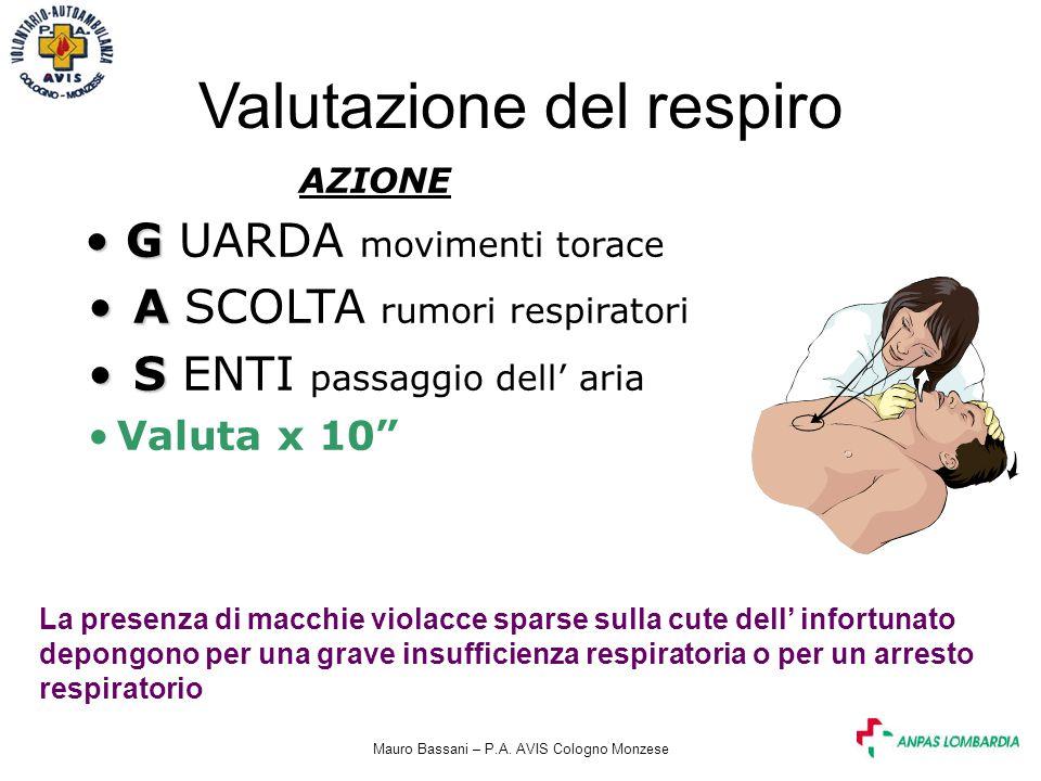 Mauro Bassani – P.A. AVIS Cologno Monzese Valutazione del respiro AZIONE G G UARDA movimenti torace A A SCOLTA rumori respiratori S S ENTI passaggio d